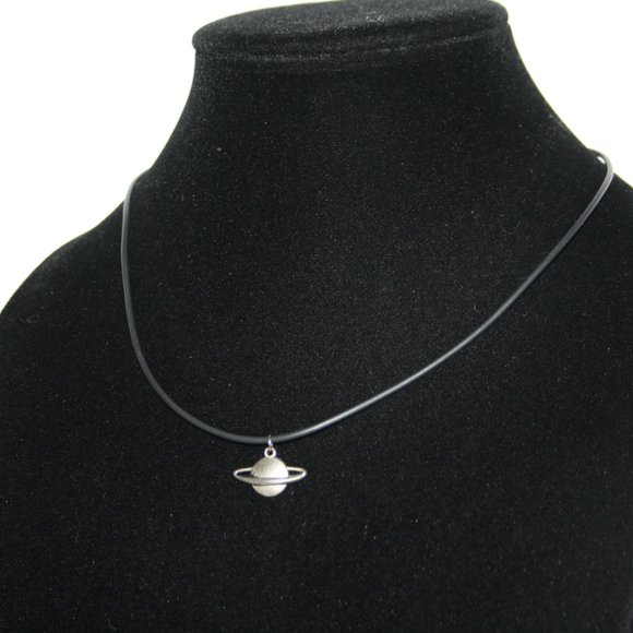"""Black and silver Saturn necklace 18"""""""